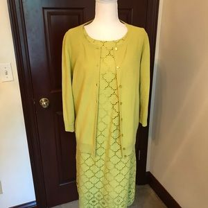 Talbots Cotton Dress and Matching Sweater Sz 14